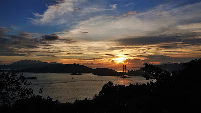 青衣自然徑,馬灣海峽日落