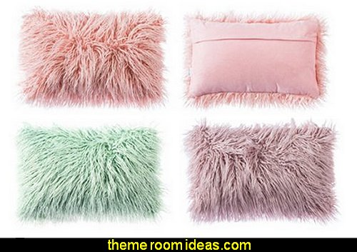 Mongolian Faux Fur Throw Pillow Cover Cushion Case
