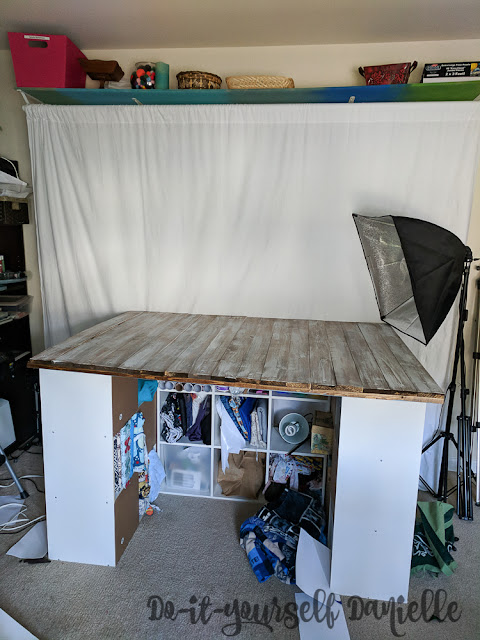 Photography setup with DIY backdrop.
