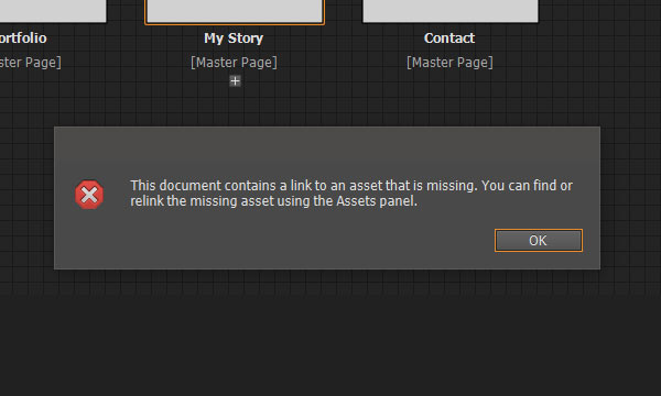 Error message that assets are missing in Adobe Muse