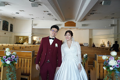 bride and groom at church