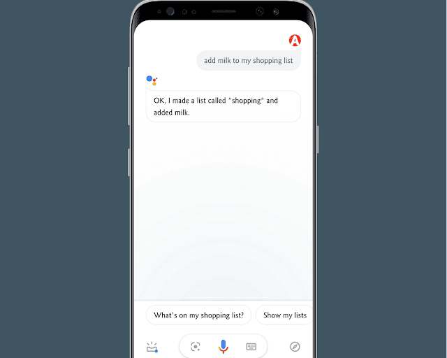 Creating a shopping list with Google assistant