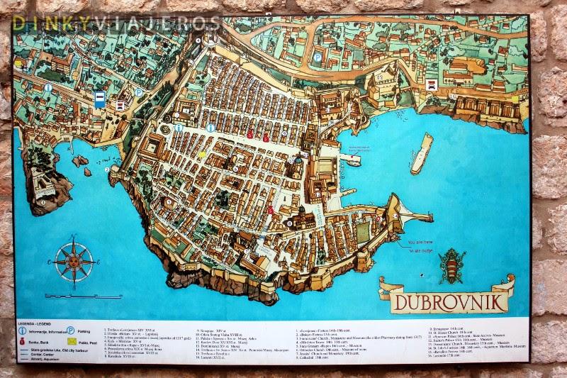 Mapa de la Ciudad Vieja de Dubrovnik