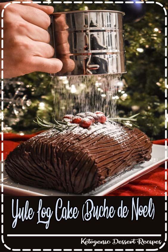 This festive yule log cake is chocolate cake filled with whipped cream Yule Log Cake (Buche de Noel)