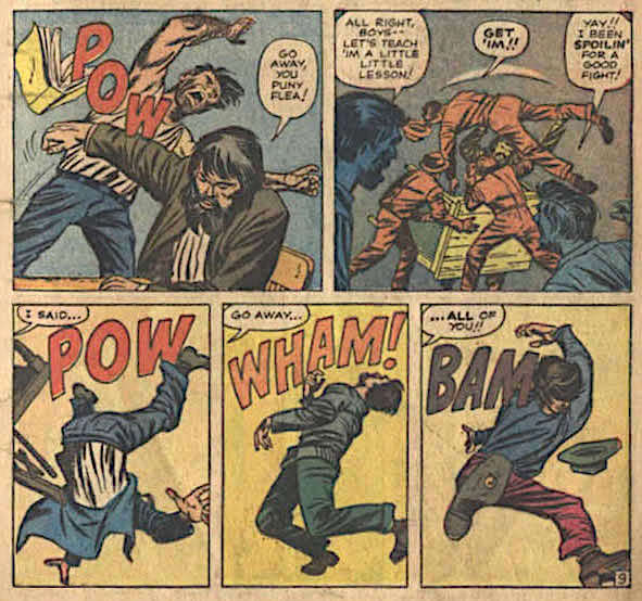 Men being hit and tossed around to sound effects Pow, Wham, and Bam