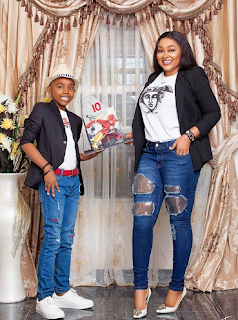 Mercy Aigbe and her son, Juwon at 10