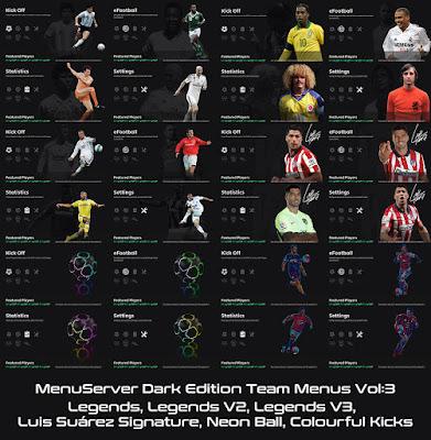 PES 2021 Dark Edition Team Menus V3 by Hawke
