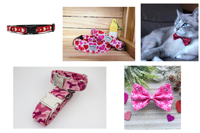 A selection of dog and cat collars and bow ties in shades of pink and/or decorated with hearts. An artisan Valentine's gift guid.