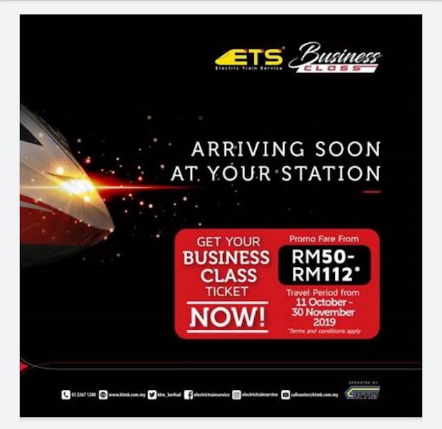 Tambang separuh harga ke Padang Besar dengan KTMB ETS2 Business Class