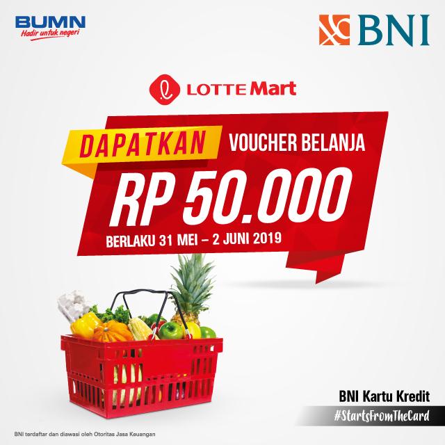 #BankBNI - #Promo Dapatkan Voucher Belanja 50K di LotteMart (s.d 02 Juni 2019)