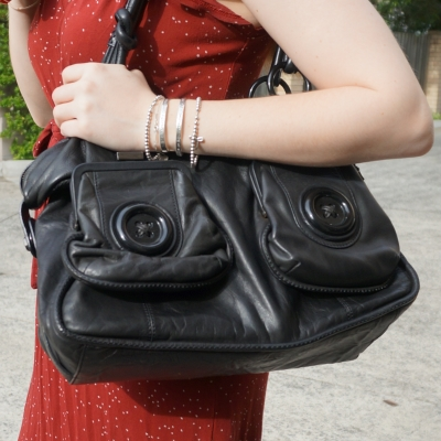 Mimco black button bag | away from the blue blog