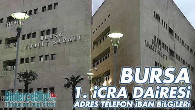 Bursa 1. İcra Dairesi Adresi, Telefonu, İban Numarası