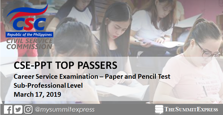 TOP 10 PASSERS: March 2019 Civil Service Exam Sub-Professional Level