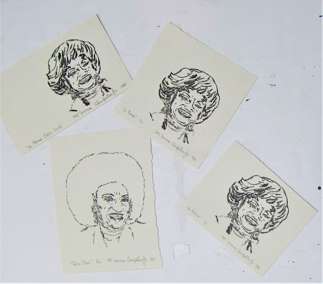 La Reina - Portrait of Celia Cruz - Signed and numbered lithographs circa 1980 by Florencio Lennox Campello, University of Washington School of Art