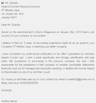 Surat Lamaran Kerja Bahasa Inggris Accounting