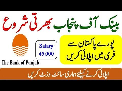 Bank of Punjab Jobs 2021 Online Apply