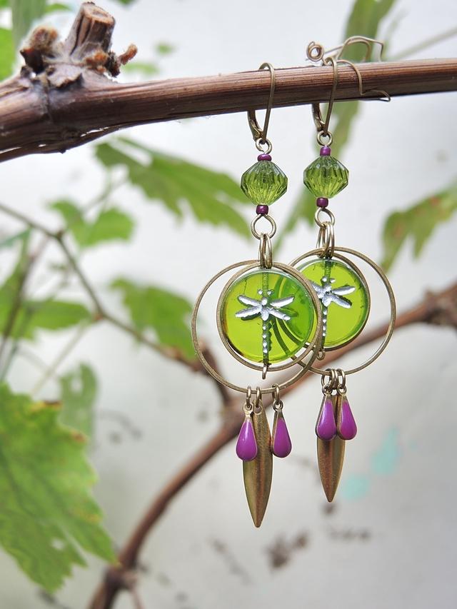 DIY oorbellen/earrings 'libelle'