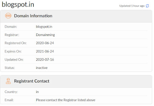 google lost blogspot.in domain control