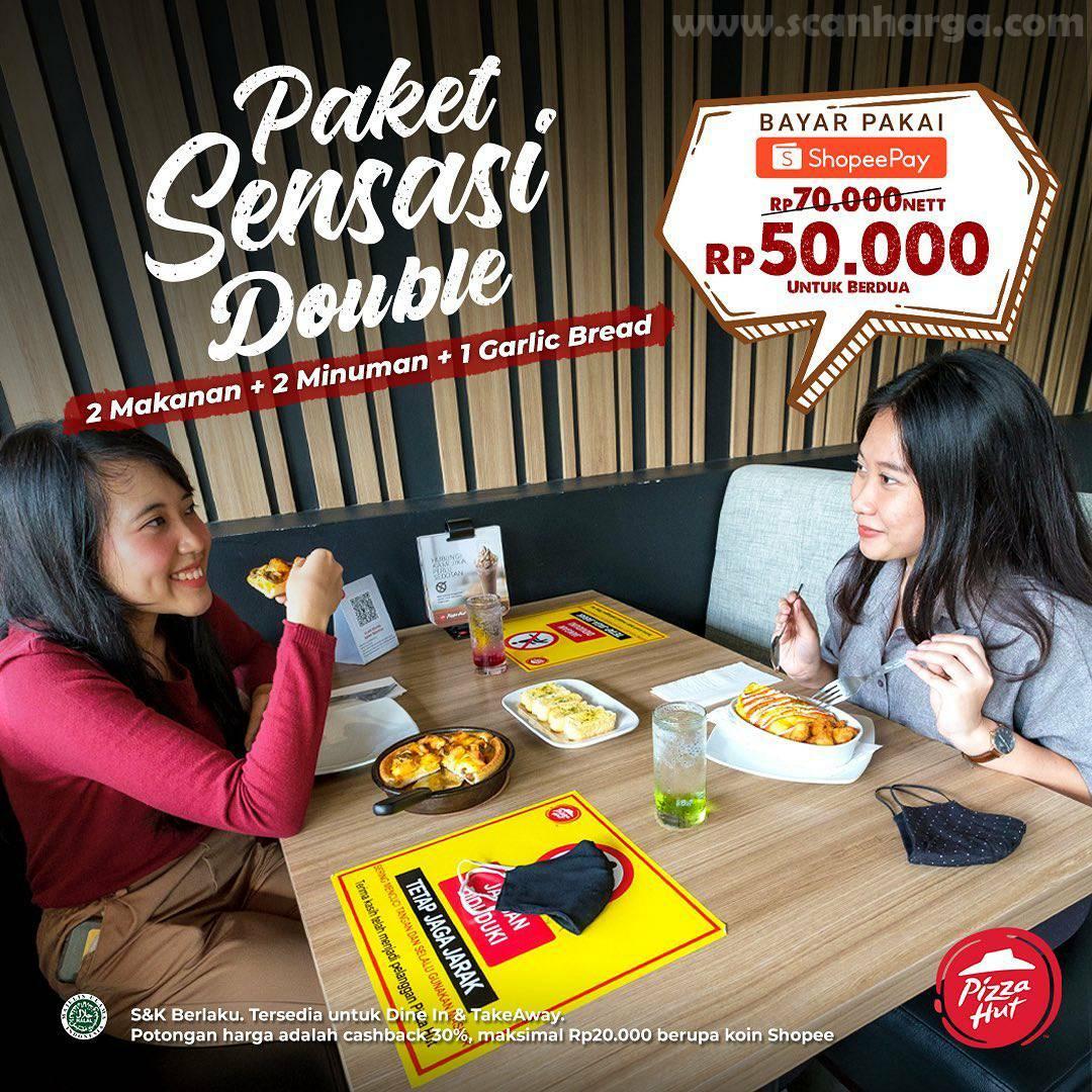 Promo PIZZA HUT Paket Sensasi Double Rp 50.000 Berdua Bayar Pakai ShopeePay