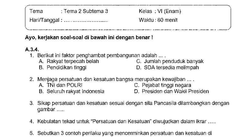 Soal Ulangan Kelas 6 Tema 2 Subtema 3 dan Kunci Jawaban