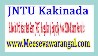 JNTU Kakinada B.Tech 3rd Year 1st Sem (R13) Regular / Supply Nov 2016 Exam Results