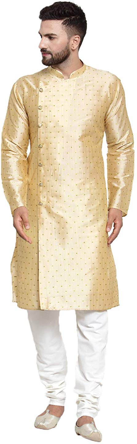 Jompers Men's Jacquard Silk Kurta Payjama Set