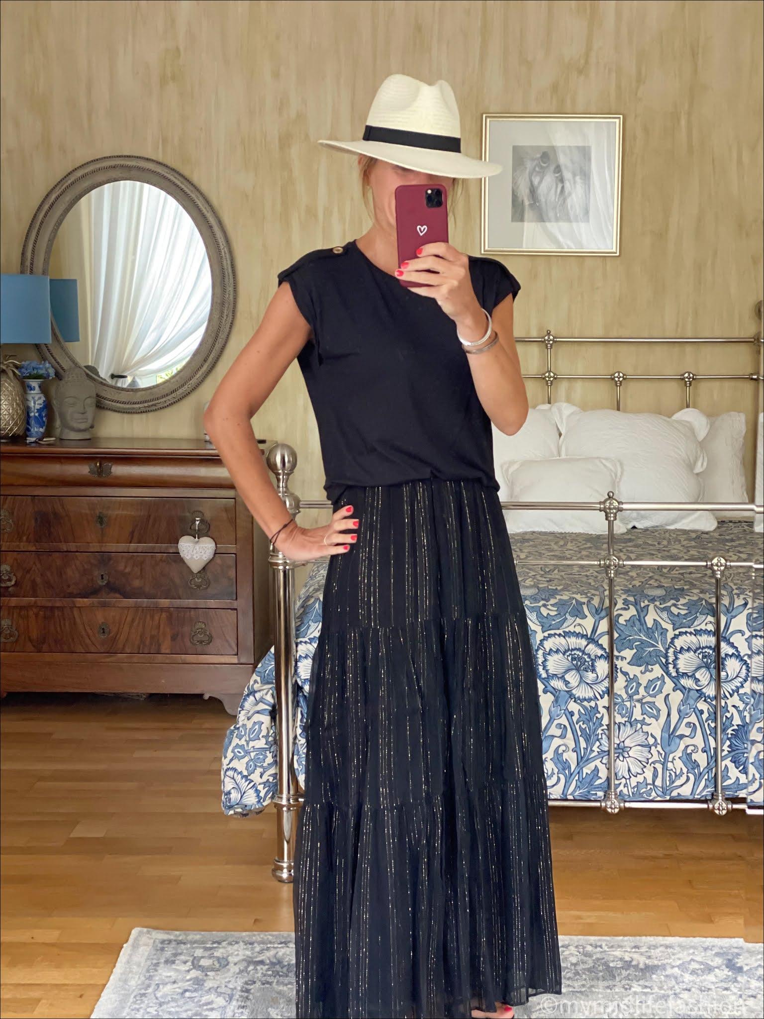 my midlife fashion, saint and Sofia women's turn up tee, Zara Panama hat, and other stories metallic stripe maxi skirt, havaianas slim fit flip flops