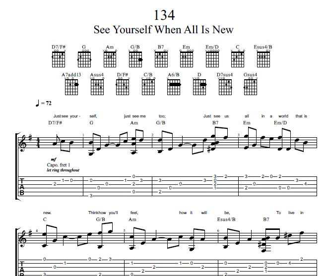 Song 134 Sing To Jehovah Guitar Tab