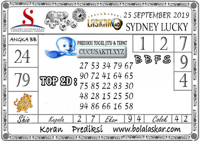 Prediksi Sydney Lucky Today LASKAR4D 25 SEPTEMBER 2019