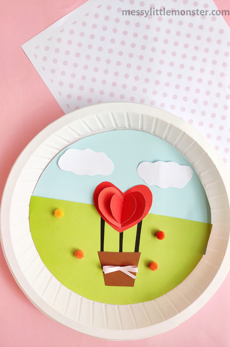 Paper Plate Hot Air Balloon Valentine Craft for Kids