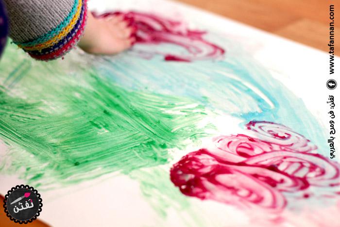 فرشاة وألوان منزلية صنع البيت homemade paint and brush