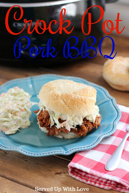 Easy Crock Pot Pork BBQ recipe from Served Up With Love is perfect to feed a crowd or your family for the week.