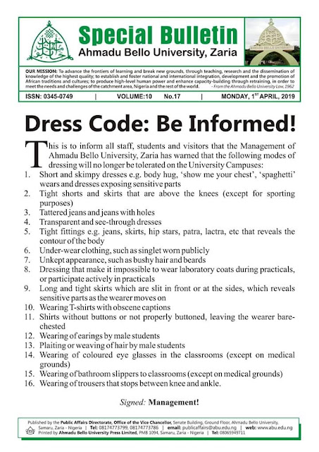 New Dress Code For Ahmadu Bello University (ABU) Zaria
