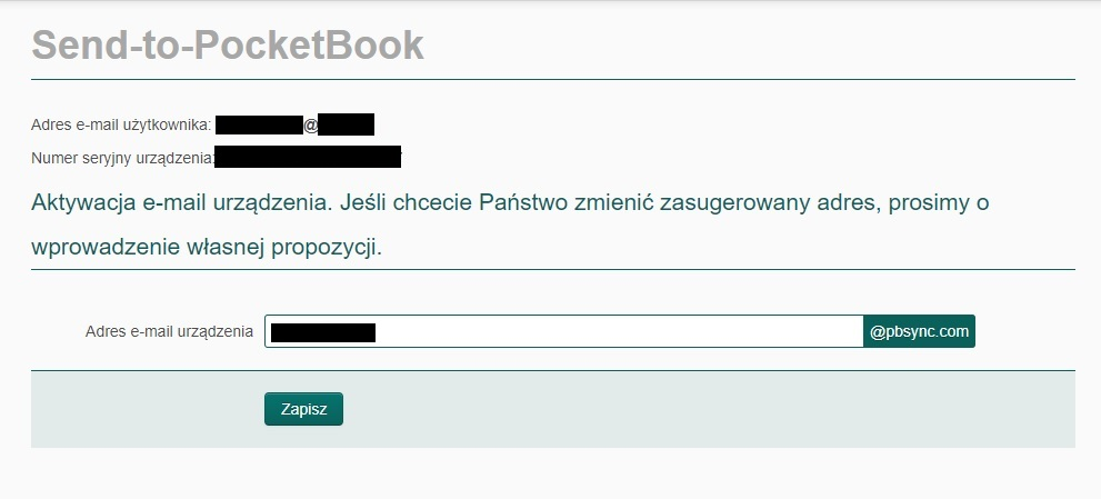 PocketBook Basic Lux 2 – e-mail z linkiem aktywującym usługę Send-to-PocketBook