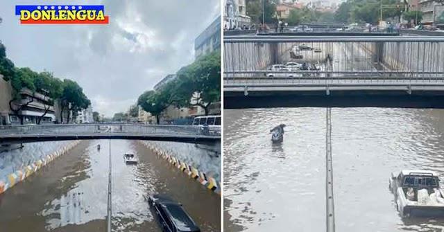 Maduro y Guaidó felices porque la Avenida Libertador está totalmente inundada