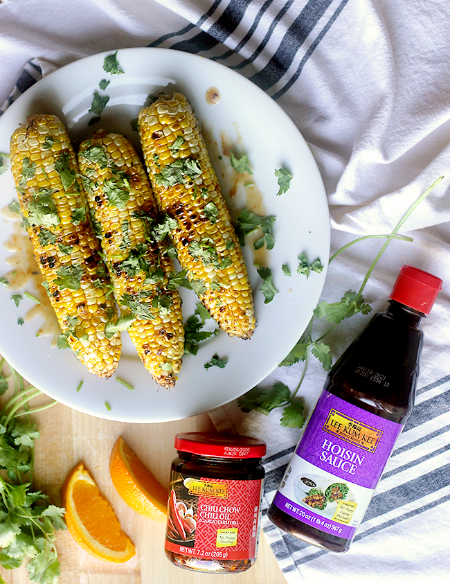 Grilled Corn with Orange Hoisin and Chili Glaze