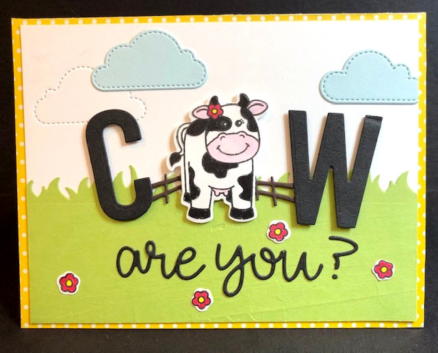 Sunny Studio Stamps: Miss Moo, Fluffy Cloud Dies & Loopy Letter Dies Cow Themed card by Polly McFadden