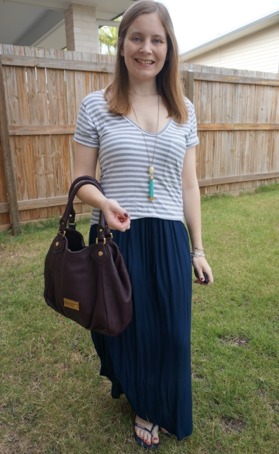 grey striped tee with navy maxi skirt and brown MbMJ fran bag classic | away from the blue