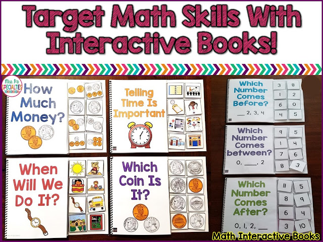 Interactive books are perfect for teaching math skills to students who needs hands on opportunities to learn and master skills. These ideas are perfect for students with autism, special education classrooms, life skills programs and preschool classes.