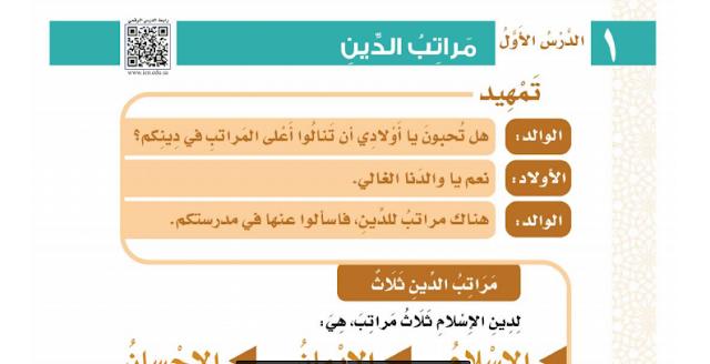 حل درس مراتب الدين التوحيد للصف الثالث ابتدائي