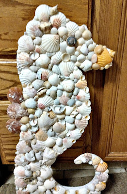Pallet Wood Seashell Covered Seahorse Wall Art