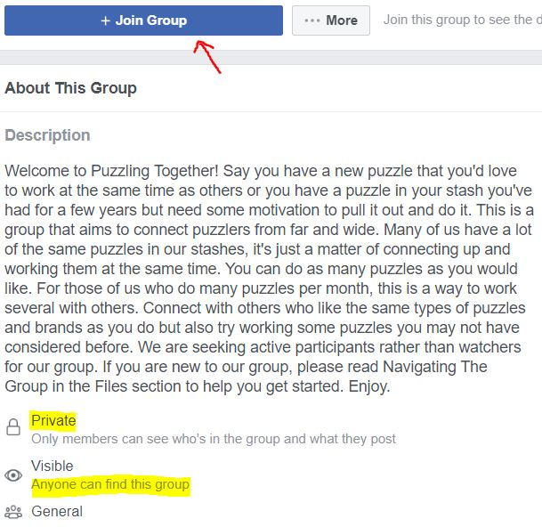 Screenshot About Us Puzzling Together Facebook Group