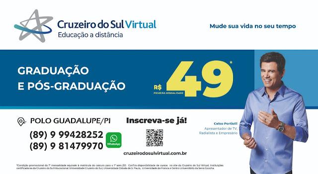Guadalupe e Região conta com toda a qualidade de ensino do EAD PI da Cruzeiro do Sul Virtual