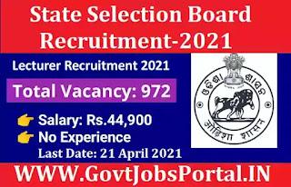 Govt Jobs for 972 Lecturer Posts - SSB Odisha Lecturer Recruitment 2021