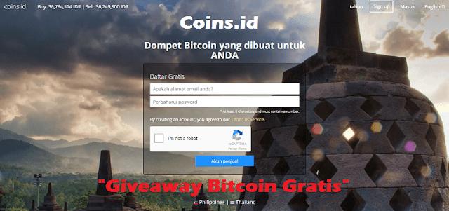 Cara Dapat Giveaway Bitcoin Gratis dari Coins.id
