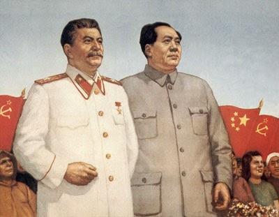 Stalin e Mao insieme in un manifesto di propaganda dell'amicizia sino-sovietica.