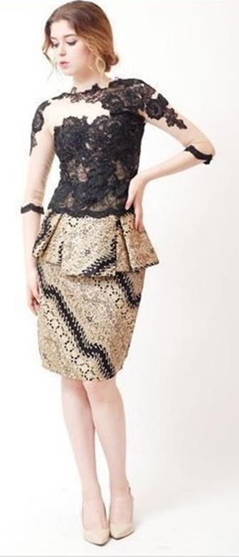 Contoh Model Baju Batik Kombinasi Brokat Terbaru