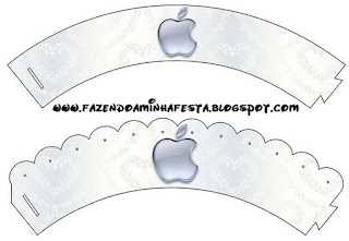 Apple Party Free Printable Cupcake Wrappers and Toppers.