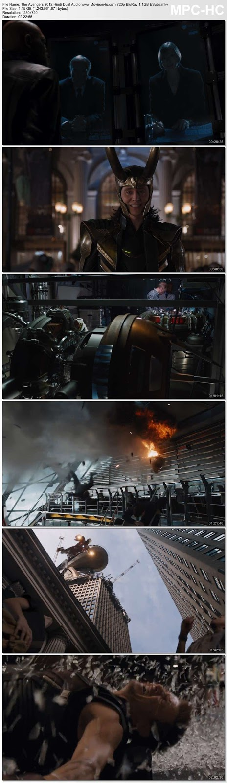 The Avengers 2012 Hindi Dual Audio 500MB BluRay x264 ESubs 480p Download HD