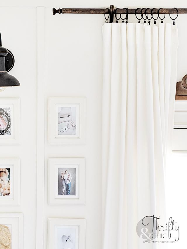 DIY Farmhouse Curtain Rod. DIY curtain rod and hardware. DIY farmhouse curtains. How to make a curtain rod. White and wood farmhouse decor. Gallery wall ideas. DIY farmhouse decor and decorating ideas.